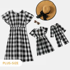 100% Cotton Black and White Plaid Print Short-sleeve Midi Dress for Mom and Me