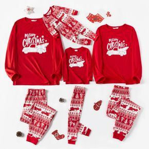 Christmas Car and Letter Print Red Family Matching Long-sleeve Pajamas Sets
