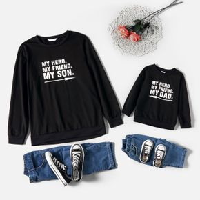 Letter Print Black Crewneck Long-sleeve Sweatshirts for Dad and Me