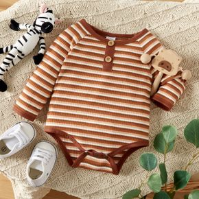 Baby Boy Coffee Striped Ribbed Long-sleeve Romper
