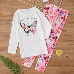 2-piece Kid Girl Letter Butterfly Print Long-sleeve Tee and Floral Print Leggings Set