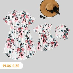Floral Print White V Neck Ruffle Short-sleeve Dress for Mom and Me