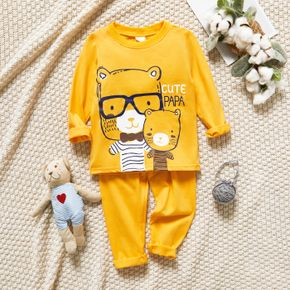 2-piece Toddler Girl/Boy 100% Cotton Animal Print Long-sleeve Top and Solid Pants Lounge Set