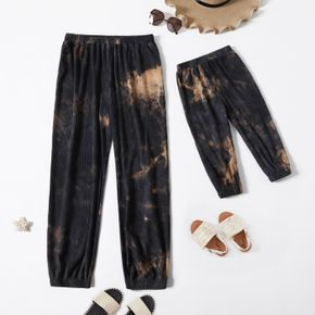 Tie Dye Coffee Ribbed Casual Jogger Sweatpants Sports Ninth Pants for Mom and Me