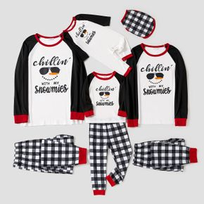 Christmas Snowman Face and Letter Print Family Matching Long-sleeve Pajamas Sets (Flame Resistant)