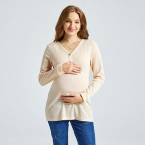 Casual Apricot Color V-neck Long-sleeve T-shirt