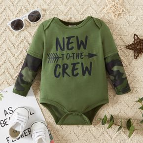 Baby Boy Letter Print Army Green Camouflage Long-sleeve Romper
