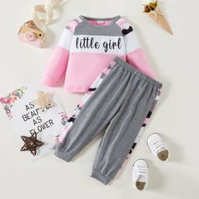 2pcs Baby Girl Letter Print Color Block Long-sleeve Pullover and Trousers Set