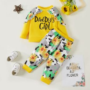 2pcs Baby Girl Letter and Sunflower Floral Print Long-sleeve Pullover and Trousers Set