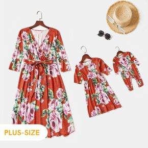 Floral Print Red V Neck Long-sleeve Midi Dress for Mom and Me