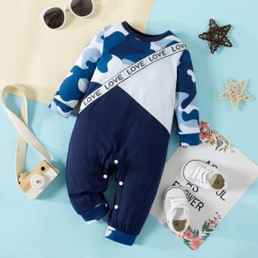Baby Boy Letters and Camouflage Print Long-sleeve Color Block Jumpsuit