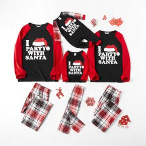 Christmas Hat and Letter Print Family Matching Red Raglan Long-sleeve Plaid Pajamas Sets (Flame Resistant)