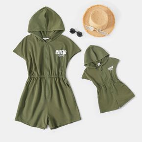 Letter Print Army Green Short-sleeve Hooded Romper Shorts for Mom and Me