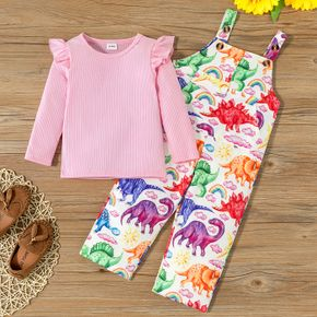 2-piece Toddler Girl Ruffled Ribbed Pink Top and Dinosaur Print Overalls Set