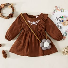 100% Cotton Baby Girl Floral Embroidered Brown Long-sleeve Ruffle Dress