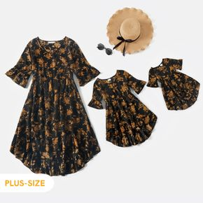 Floral Print Black V Neck Bell Sleeve Ruffle Mini Dress for Mom and Me