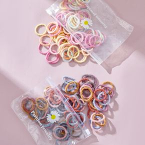 100-piece Multicolor Plush Rubber Hair Ties for Girls