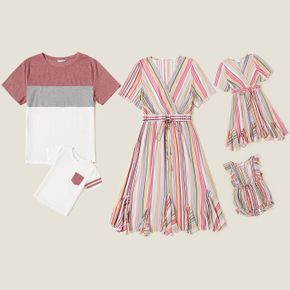 Pink Series Family Matching Sets(Striped Cross Wrap V Neck Short-sleeve Ruffle Hem Dresses and Colorblock T-shirts)