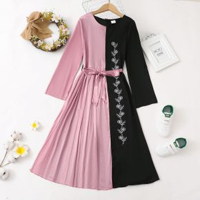 Kid Girl Floral Embroidered Colorblock Splice Belted Pleated Dress