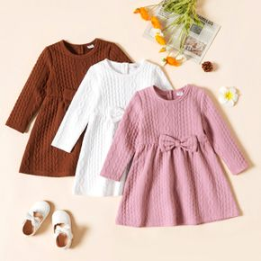 Toddler Girl Bowknot Design Cable Knit Long-sleeve Solid Dress