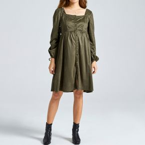 Maternity Square Neck Long-sleeve Green Button Placket Dress