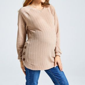 Maternity Solid Color Button Side Detail Round-collar Long-sleeve Pullover