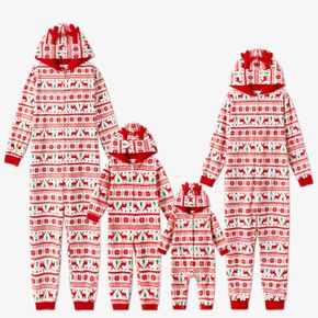 Christmas Print Family Matching 3D Antlers Thickened Hooded Long-sleeve Polar Fleece Onesies Pajamas Sets (Flame Resistant)