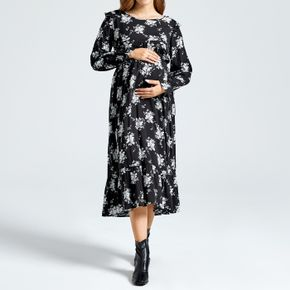 Maternity Black Floral Print Round-collar Long-sleeve Tiered Dress