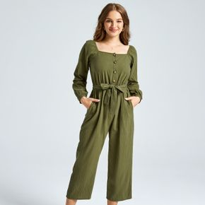 Army Green Half Button Belted Square Neck Long-sleeve Jumpsuit