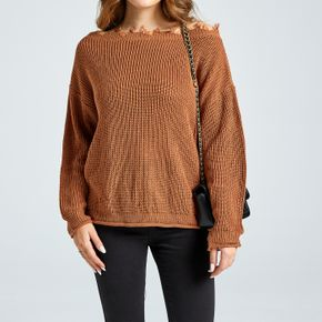 One-Shoulder Raw Trim Long-sleeve Brown Sweater