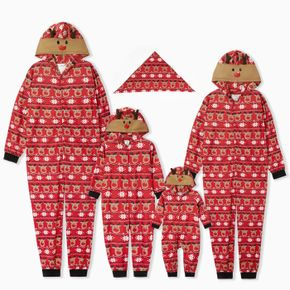 Christmas Deer Print Red Family Matching Long-sleeve Hooded Jumpsuits Pajamas Sets (Flame Resistant)