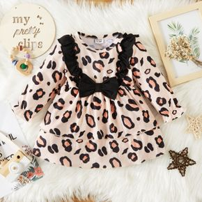 Baby Girl All Over Leopard Long-sleeve Ruffle Bowknot Dress