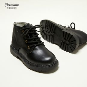 Kid Solid Shoelace Closure Boots