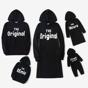 Family Matching Letter Print Black Long-sleeve Casual Dresses and Hoodies Sets