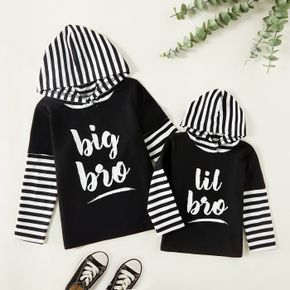 Letter Print Black Striped Hooded Long-sleeve Faux-two Sweatshirts for Brother and Me