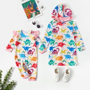 All Over Dinosaur Print Long-sleeve Hooded Sweatshirt Dress for Sister and Me