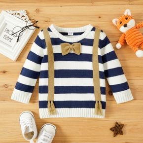 Baby Boy Bow Tie Striped Long-sleeve Knitted Sweater Pullover