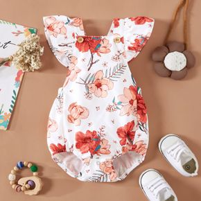 Baby Girl All Over Floral Print Sleeveless Ruffle Overall Romper
