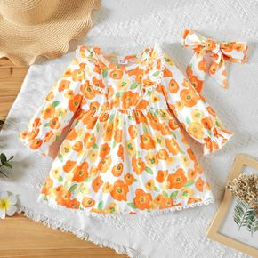 Baby Girl All Over Floral Print Orange Long-sleeve Lace Ruffle Dress Set