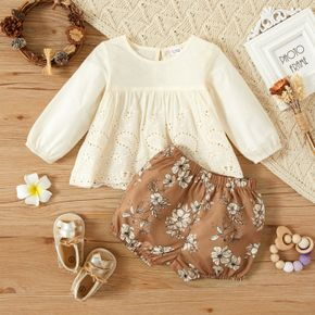 2pcs Baby Girl Long-sleeve Hollow-out Embroidered Cotton Top and Floral Print Shorts Set