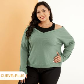 Women Plus Size Casual V Neck Green Knit Sweater