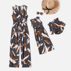 All Over Graffiti Print Grey Sleeveless Belted Jumpsuits for Mom and Me