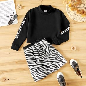 2-piece Kid Girl Letter Print Black Fleece Lined Pullover Sweatshirt and Striped Fuzzy Skirt Set