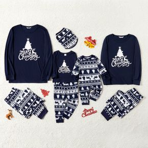 Christmas Tree Reindeer and Letter Print Blue Family Matching Long-sleeve Pajamas Sets (Flame Resistant)