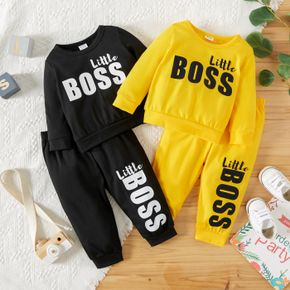 2pcs Baby Boy Letter Print Solid Long-sleeve Sweatshirt and Trousers Set