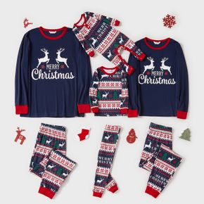 Christmas Reindeer and Letter Print Blue Family Matching Long-sleeve Pajamas Sets