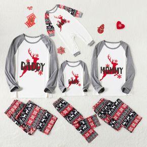 Christmas Reindeer and Letter Print Grey Family Matching Long-sleeve Pajamas Sets (Flame Resistant)