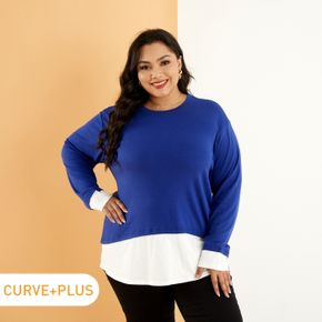 Women Plus Size Casual Back Slit Faux-two Pullover