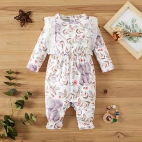 Lace Splicing All Over Elephant and Floral Print Baby Long-sleeve Jumpsuit