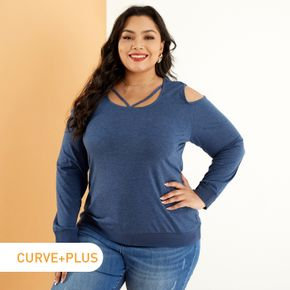 Women Plus Size Elegant Hollow out Cold Shoulder Long-sleeve Tee